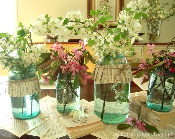 Vintage-Ball-Mason-Jars-Crabapple-Blossoms-Centerpiece-AnExtraordinaryDay_net_