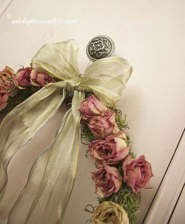 Gold-ribboned-Shabby-Chic-Dried-Rose-Spanish-Moss-wreath