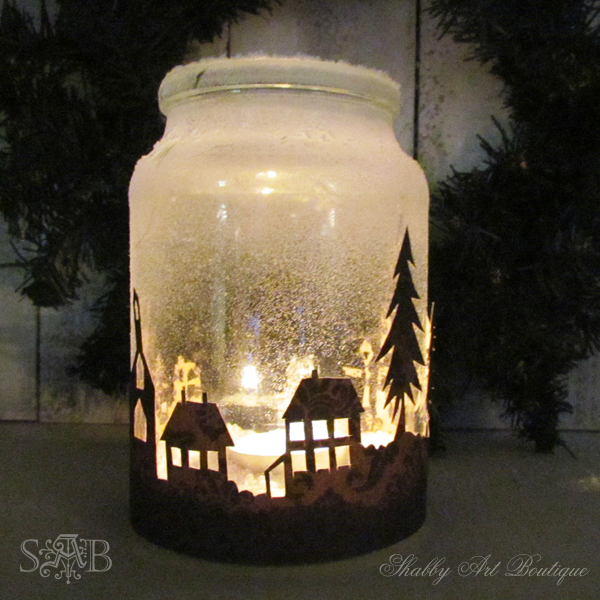 Shabby Art Boutique Kerst Township Kaars Jar 2