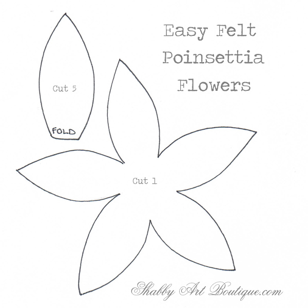image relating to Printable Poinsettia Template named Easily Christmaseasy felt Poinsettias - Shabby Artwork Boutique