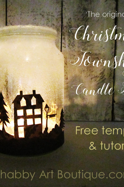 Get the free template and quick and easy tutorial for making the Christmas Township Candle Jar by Shabby Art Boutique. Looks amazing when illuminated at night. Use tealight candles, battery operated candles or battery operated bud lights.