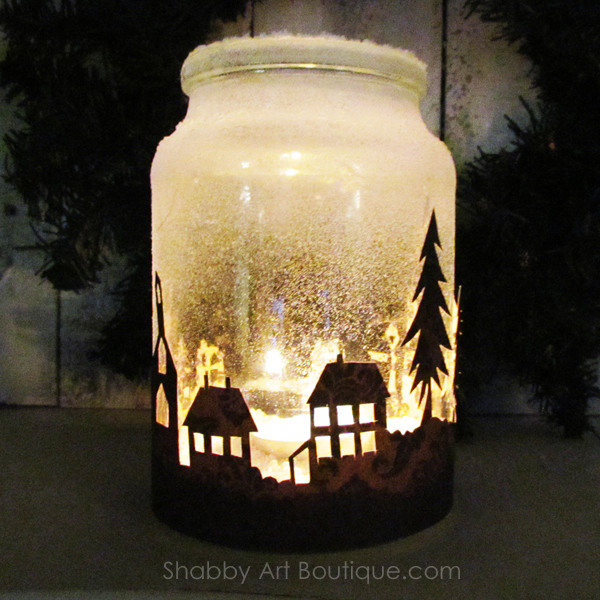 get the free template and quick and easy tutorial for making the christmas township candle jar - Battery Operated Christmas Candles