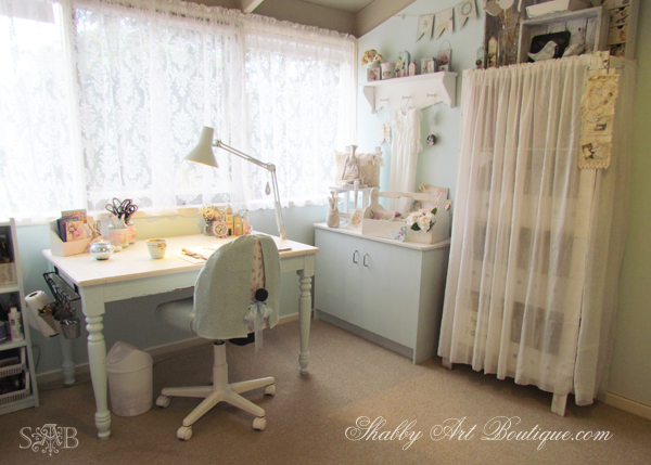 Craft room tour part 3 shabby art boutique for Shabby chic craft room