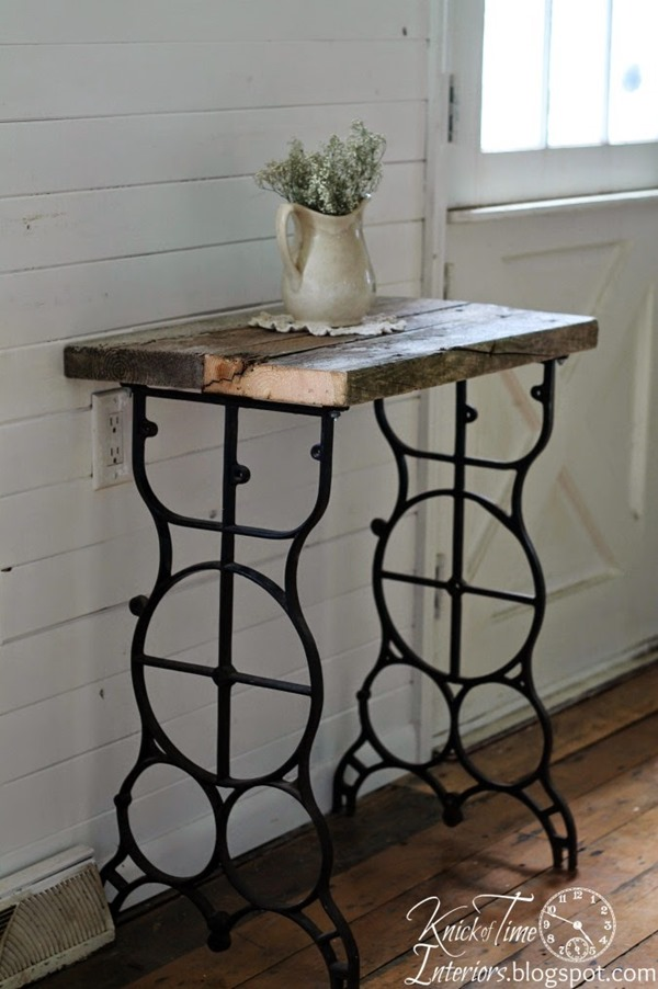 Rustic Antique Sewing Machine Table via httpknickoftimeinteriors_blogspot_com