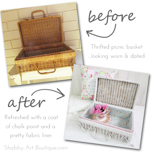 Shabby Art Boutique - Picnic basket make-over 1
