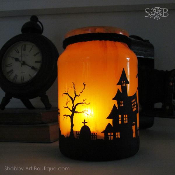 Shabby Art Boutique - Halloween Candle Jar 1
