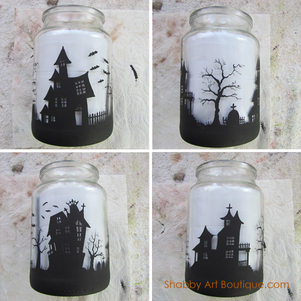 Shabby Art Boutique - Halloween Candle Jar - tutorial