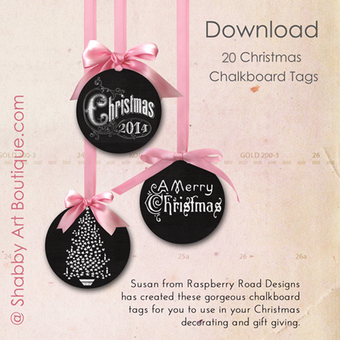 Shabby Art Boutique - Free Chalkboard Christmas Tags to download