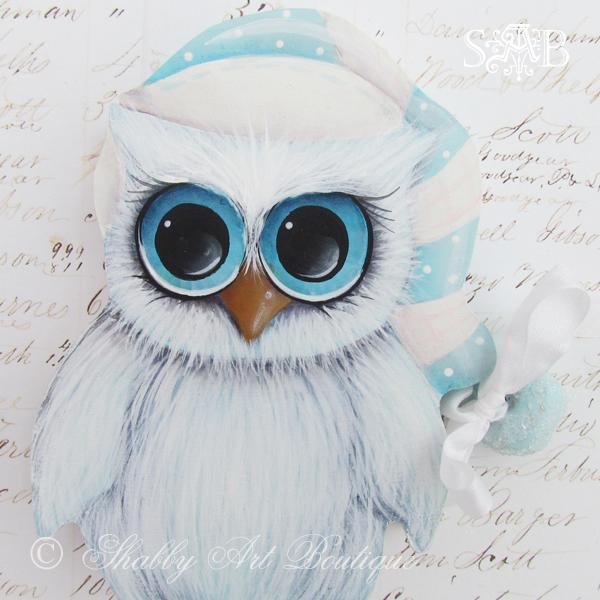 Shabby Art Boutique White Christmas 2013 owl