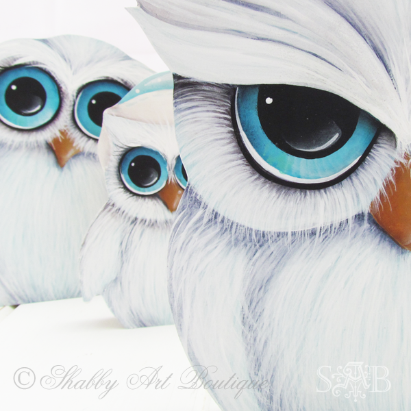 Shabby Art Boutique White Christmas 2013 owls 2