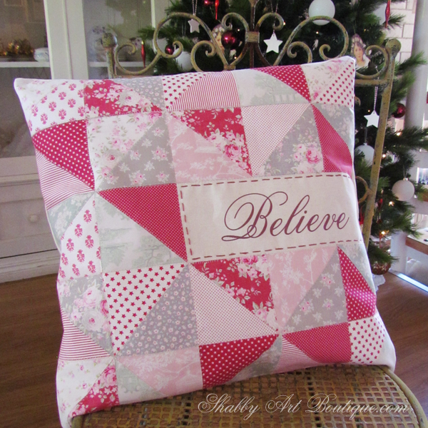 Shabby Art Boutique - faux patchwork cushion tutorial 2