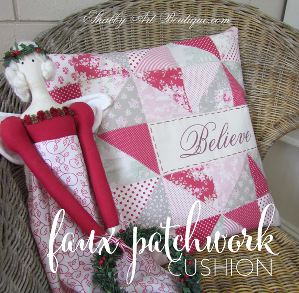 Shabby Art Boutique - faux patchwork cushion tutorial