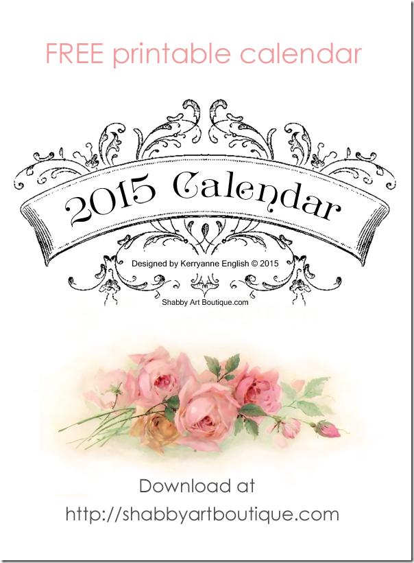 Shabby Art Boutique - free printable 2015 calendar