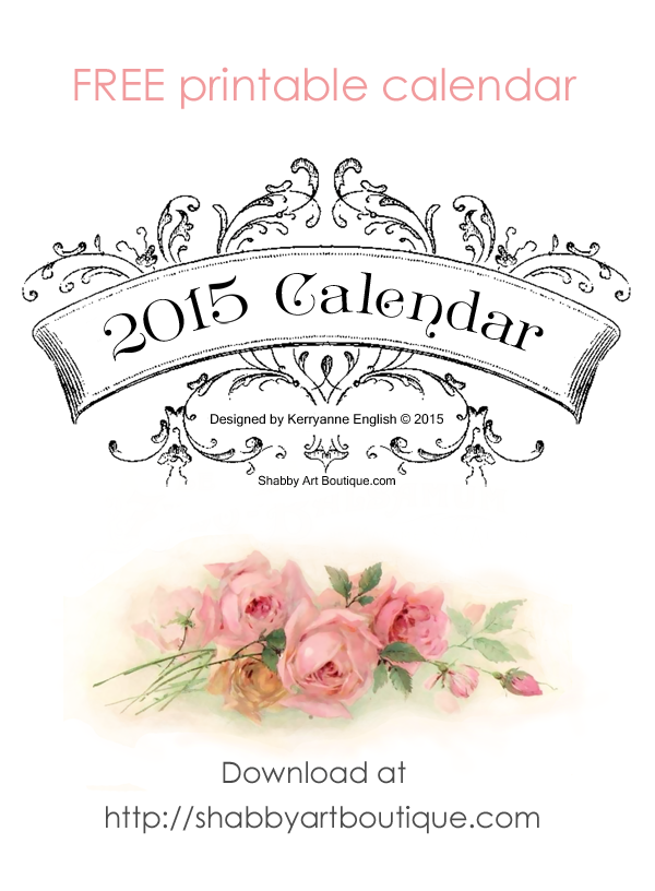 Shabby Art Boutique - free printable 2015 calendar
