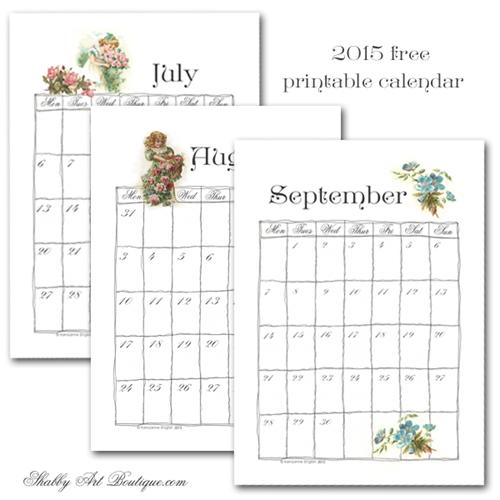Shabby Art Boutique - part 3 free printable calendar