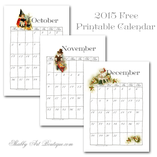 Shabby Art Boutique - part 4 free printable calendar