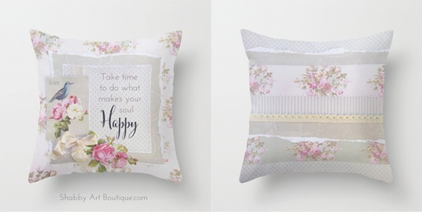 Shabby Art Boutique - Happy Soul and stripe cushion