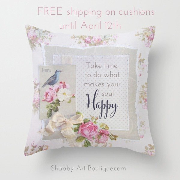 Shabby Art Boutique - Happy Soul cushion free ship