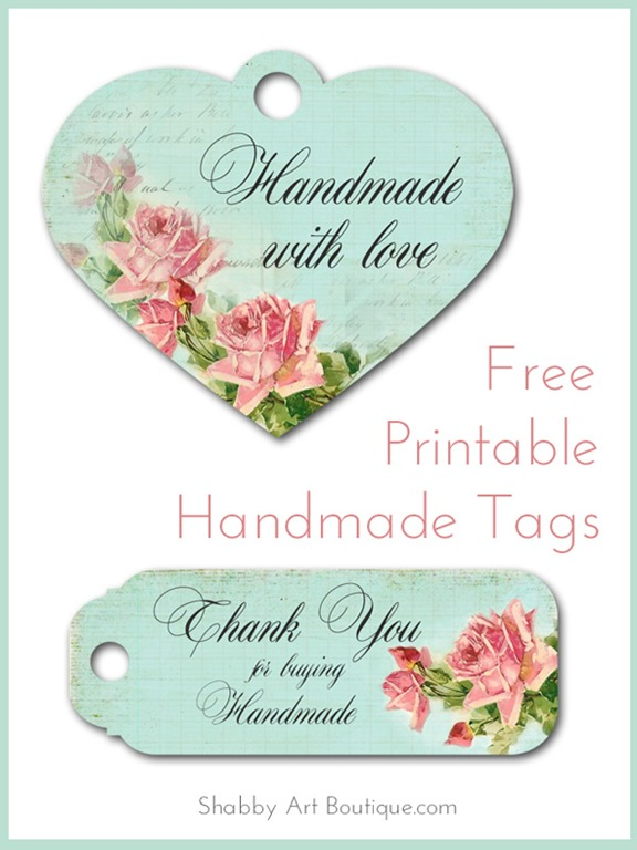 Free printable handmade tags shabby art boutique for Sell handmade crafts online free