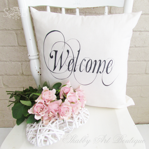 Shabby Art Boutique - welcome cushion 1