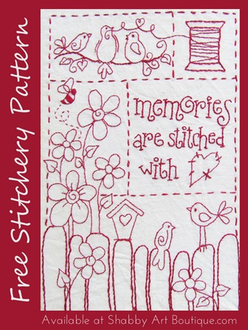 Shabby Art Boutique -  Memories are stitched with love - Free stitchery