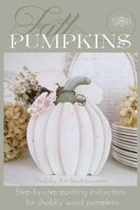 Make your own 'shabbilicious' wood pumpkins
