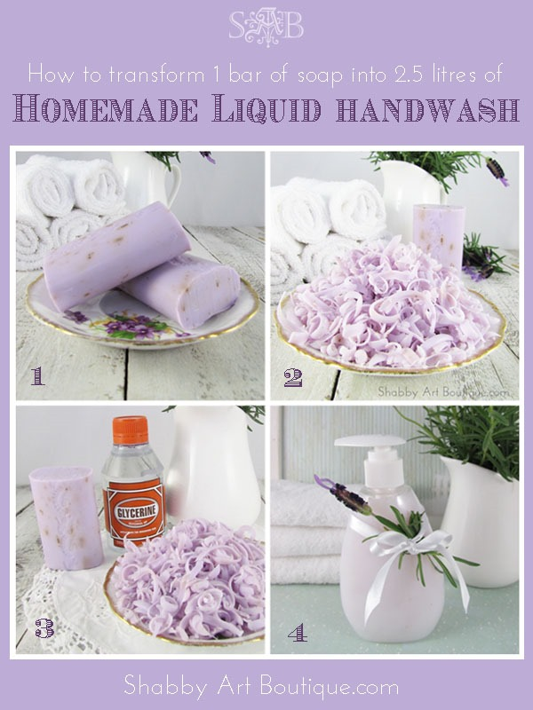 Shabby Art Boutique - how to make liquid handwash in 4 steps