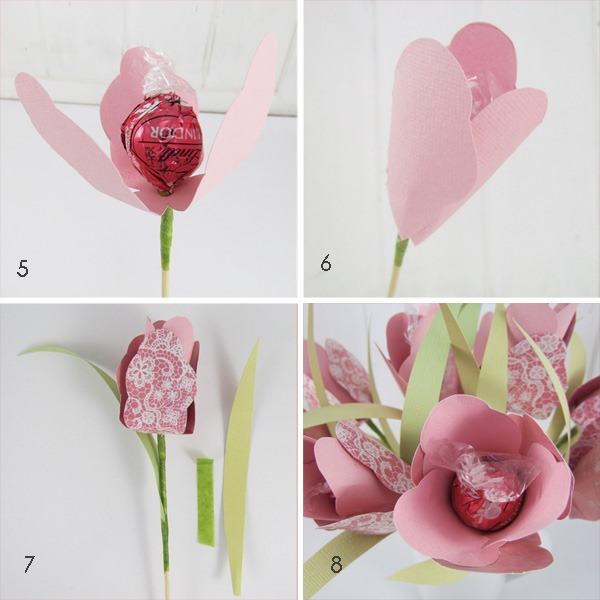 Shabby Art Boutique - how to make a bouquet of chocoate flowers - steps 5 - 8