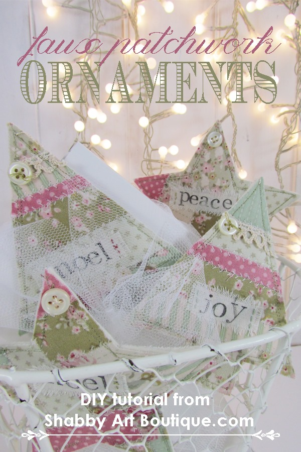 Shabby Art Boutique - DIY faux patchwork ornies