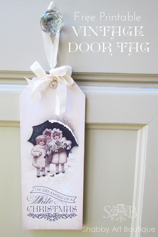 Shabby Art Boutique - printable vintage Christmas door tag 4