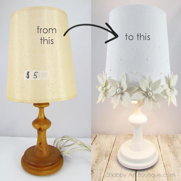 Shabby Poinsettia Lamp - Shabby Art Boutique