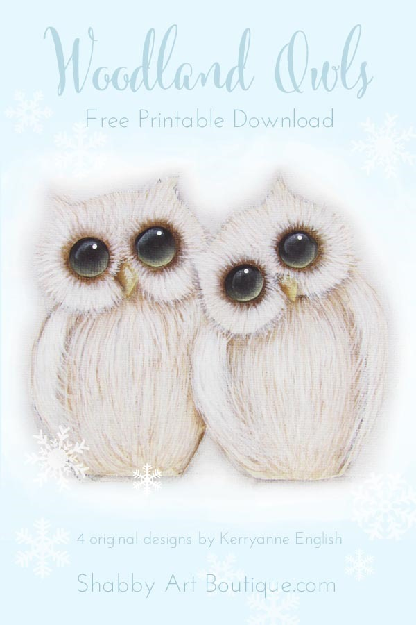 Free printable woodland owls by Shabby Art Boutique