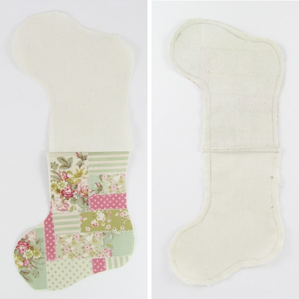 Shabby Art Boutique - DIY Faux Patchwork Stocking Cutlery Holder - step 2