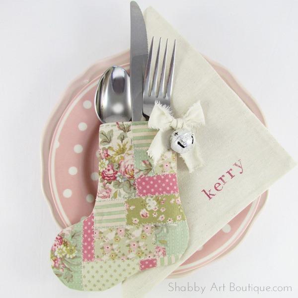 DIY–Faux Patchwork Stocking Cutlery Holder - Shabby Art ...