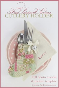 DIY–Faux Patchwork Stocking Cutlery Holder