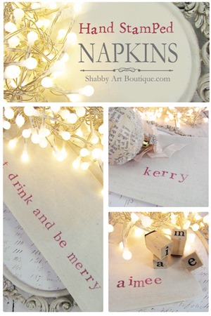 Shabby Art Boutique - DIY - Hand Stamped Napkins