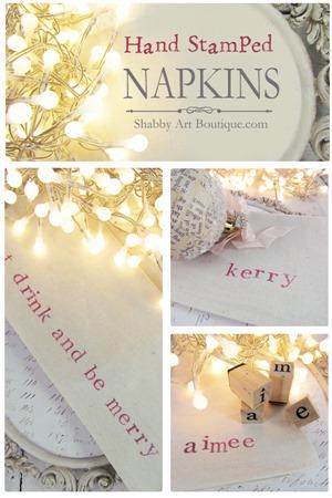 Shabby Art Boutique - DIY - Hand Stamped Napkins