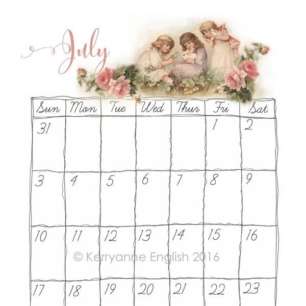 Vintage Calendar 2017 Printable : More free printables for the planner shabby art