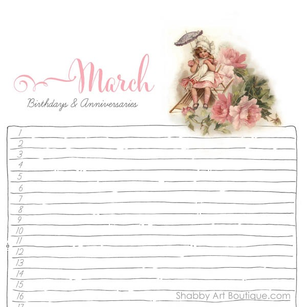 Shabby Art Boutique - Birthday Planner