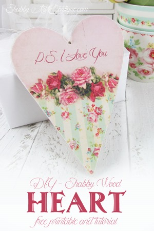 Shabby Art Boutique - DIY shabby wood heart printable & tutorial