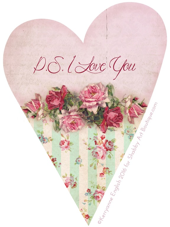 Shabby Art Boutique - PS I Love You heart project