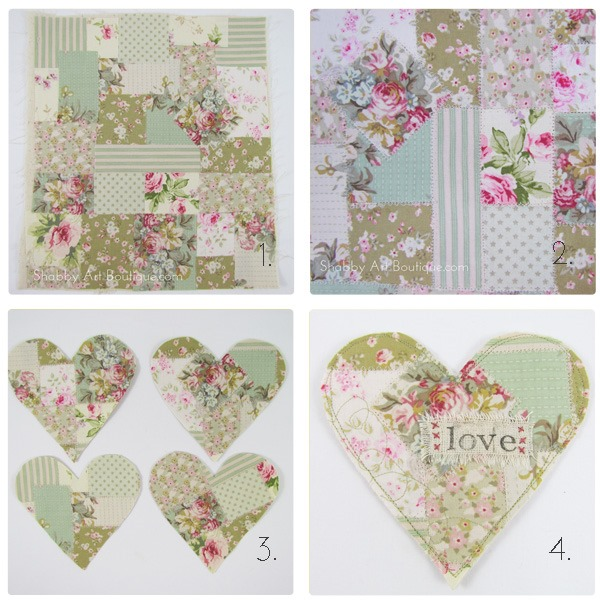 Shabby Art Boutique - shabby fabric heart- step-by-step