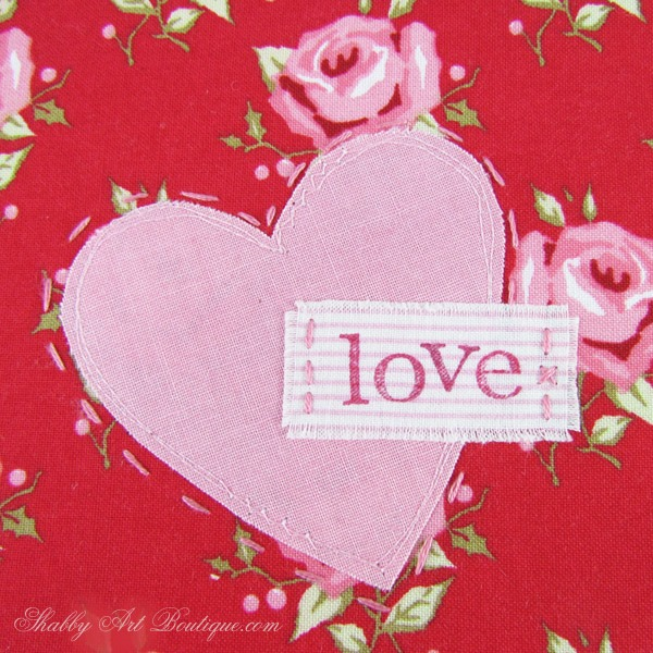 Valentine Mug Rug - Shabby Art Boutique - close up