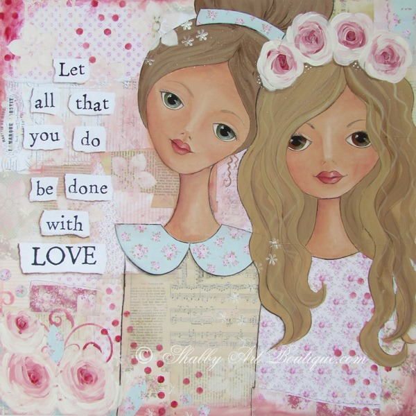 Shabby chic mixed media canvas by Kerryanne English - Shabby Art Boutique