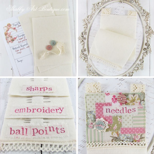 DIY faux patchwork needle keeper - 2 - Shabby Art Boutique