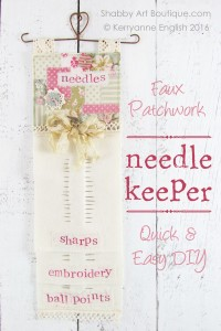 DIY faux patchwork needle keeper