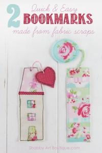 DIY– shabby fabric scrap bookmarks