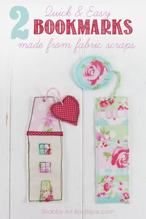 Fabric scraps bookmarks by Shabby Art Boutique