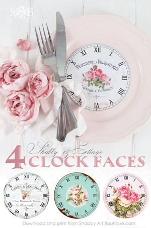 4 shabby and cottage clock faces from Shabby Art Boutique