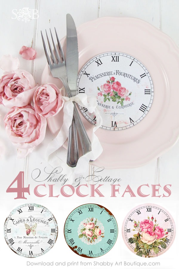 Clock Face Printables - 4 free printable shabby & cottage clock faces from Shabby Art Boutique. Click to see tutorial and download graphics or pin for later.